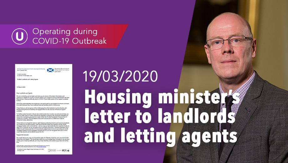 Housing minister's letter to landlords and letting agents